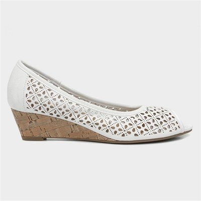 Lilley Womens White Wedge Court Shoe
