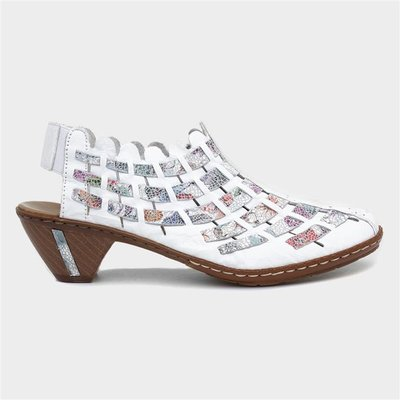 Rieker Sina Womens Leather Sling Back in White