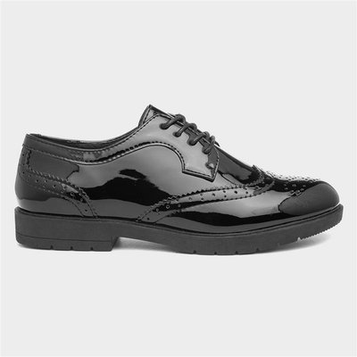 Lilley Womens Black Glossy Lace Up Brogue Shoe