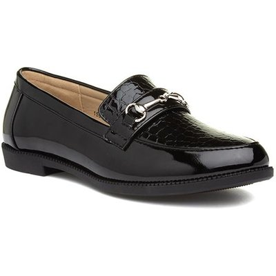 Lilley Womens Black Patent Croc Loafer