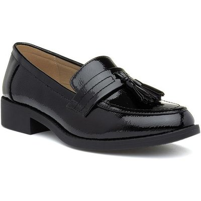 Lilley Womens Black Slip On Patent Loafer