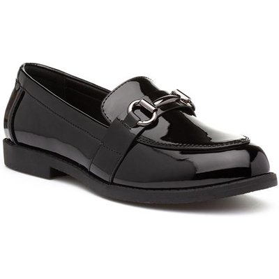 Lilley Womens Patent Loafer in Black