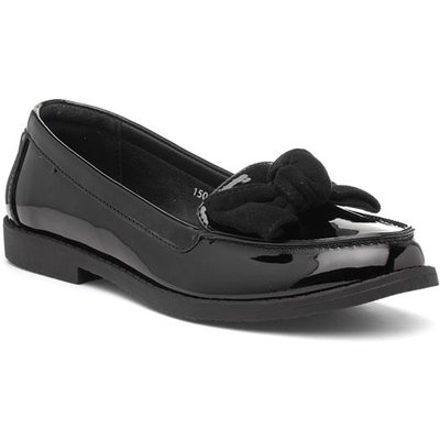 Lilley Womens Black Loafer with Bow