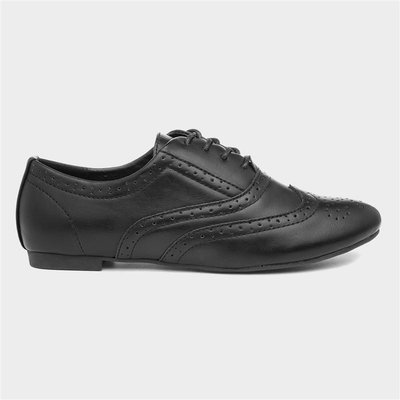 Lilley Womens Lace Up Black Brogue Shoe