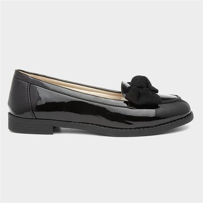 Lilley Womens Black Patent Loafer with Bow