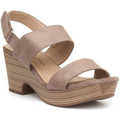 Xti Womens Taupe Touch Fasten Wedge Sandal