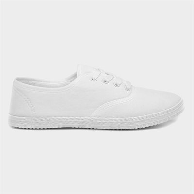 BLU Womens White Lace Up Canvas Shoe