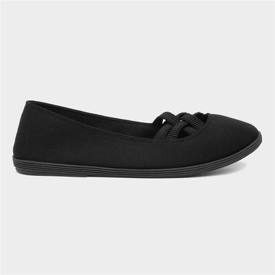 Lilley Womens Black Slip On Canvas Shoe