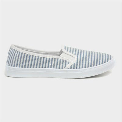 Lilley Womens White And Blue Stripe Slip On Canvas