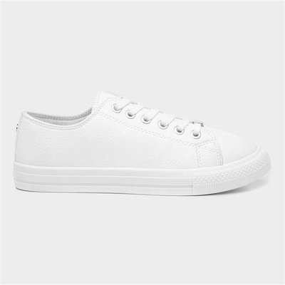 Lilley Womens Lace Up Shoe in White