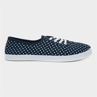 Lilley Womens Blue Polka Dot Speed Lace Canvas