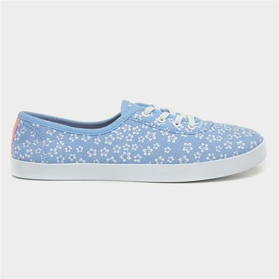 Lilley Womens Blue Floral Elastic Lace Canvas