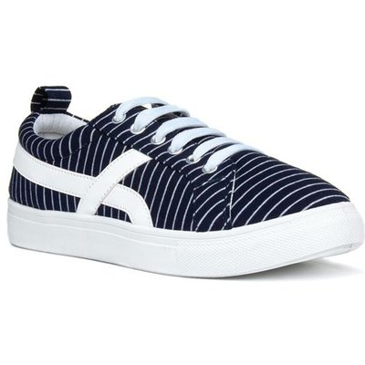 Lilley Womens Navy Stripe Lace Up Canvas