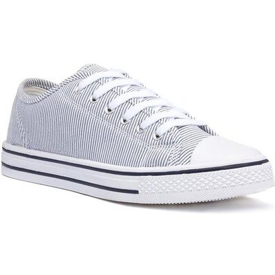 Lilley Womens White Stripe Lace Up Canvas