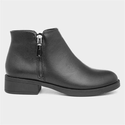 Lilley Womens Black Ankle Boot with Zip