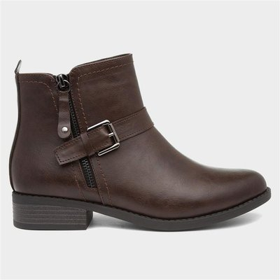 Lilley Womens Brown Flat Ankle Boot