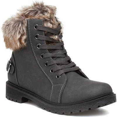 Lilley Womens Grey Faux Fur Lace Up Boot