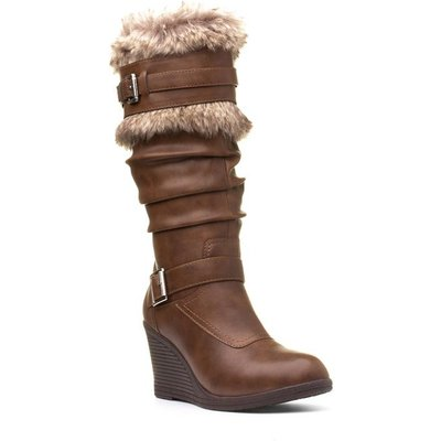 Lilley Womens Tan Wedge Faux Fur High Leg Boot