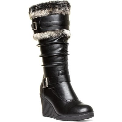 Lilley Womens Black Faux Fur Wedge