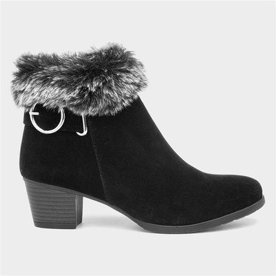 Lilley Womens Black Buckle Ankle Boot