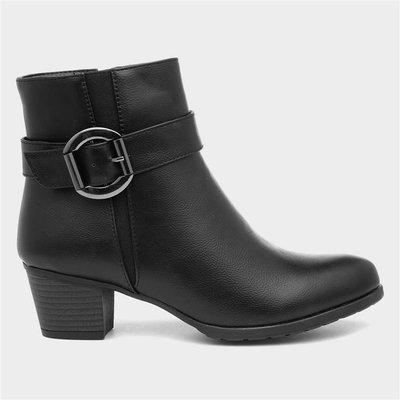 Lilley Womens Black Heeled Ankle Boot