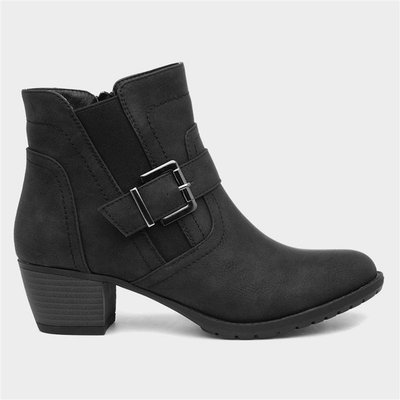 Lilley Womens Black Zip Up Heeled Ankle Boot
