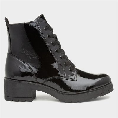 Marco Tozzi Womens Black Patent Heeled Ankle Boot