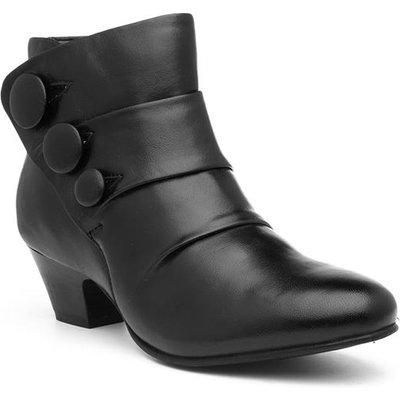 Lotus Prancer Womens Black Leather Heeled Boot