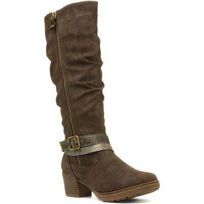 Lunar Judy Womens Brown Knee High Boot with Buckle