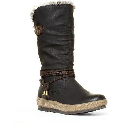 Relife Womens Black Brown Calf High Boot