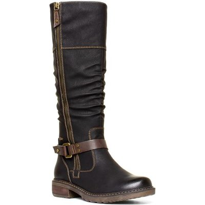Relife Womens Black Brown Riding Boot