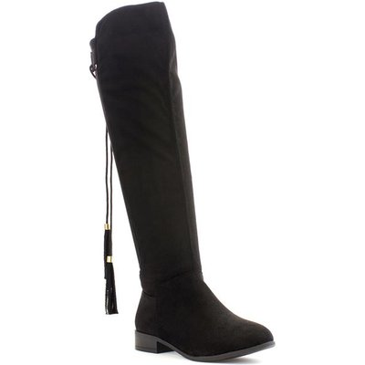 Lilley Womens Black Knee High Tassel Boots