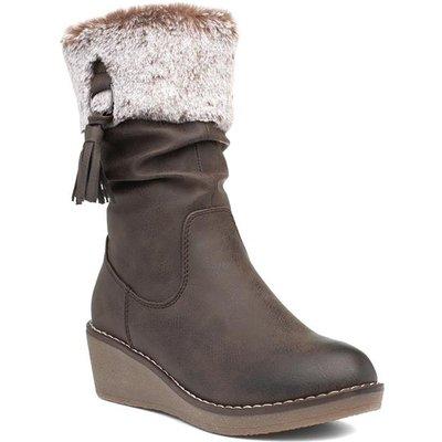 Lunar Webb Womens Brown Faux Fur Calf Boot