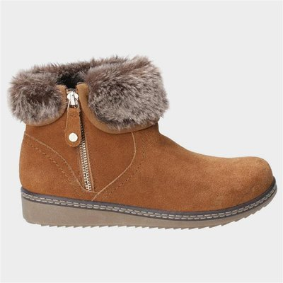 Hush Puppies Womens Penny Zip Ankle Boot in Tan