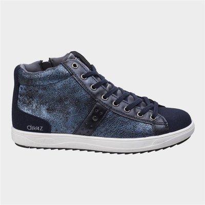 Divaz Womens Steffy Metallic Sneaker Boot in Blue