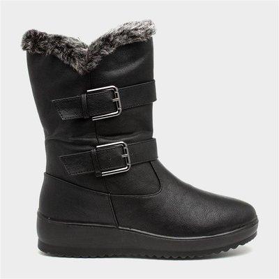 Softlites Womens Black Faux Fur Lined Calf Boot