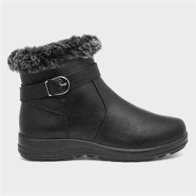 Softlites Womens Black Faux Fur Ankle Boot