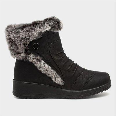 Softlites Womens Black Faux Fur Trim Ankle Boot