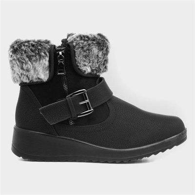 Softlites Womens Black Faux Fur Ankle Boots
