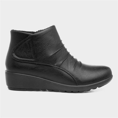 Softlites Womens Easy Fasten Ankle Boot in Black