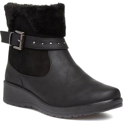 Softlites Womens Black Wedge Zip Up Ankle Boot