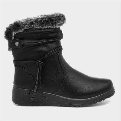 Softlites Womens Black Wedge Faux Fur Ankle Boot