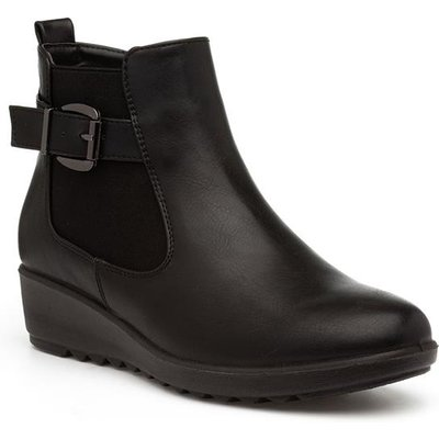 Softlites Womens Black Wedge Chelsea Boot