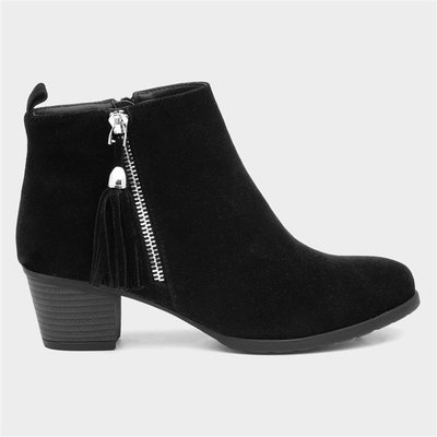 Lilley Womens Black Faux Suede Heeled Ankle Boot