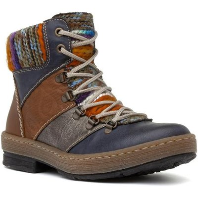 Rieker Womens Lace Up Multi Colour Ankle Boot