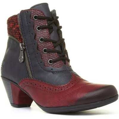 Rieker Womens Navy and Burgundy Lace Up Boots