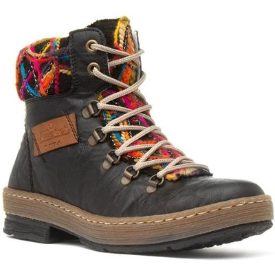 Rieker Womens Boots with Multi-Coloured Collar