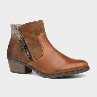 Rieker Womens Tan Leather Ankle Boot