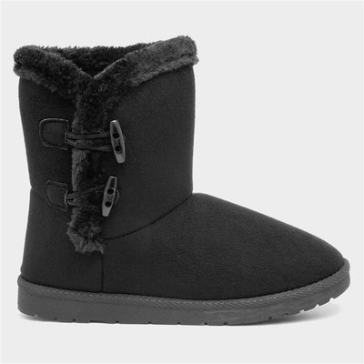 Lilley Womens Black Faux Fur Pull On Ankle Boot