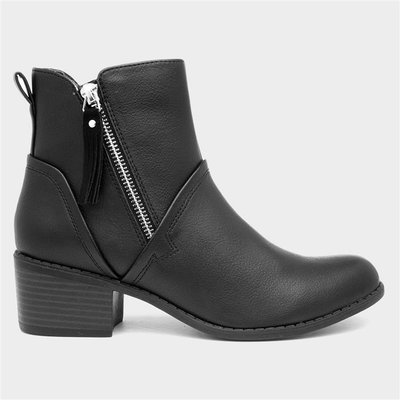 Lilley Womens Black Zip Up Ankle Boot